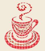 Lappendeken koffie kop 1. — Stockvector