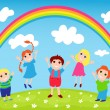 Children and rainbow — Stock Vector