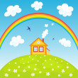 Royalty-Free Stock Vector Image: House and rainbow.