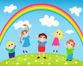 Children and rainbow — Stock Vector