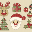 Set of vintage pictures for christmas — Stock Vector