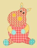 Hippopotamus patchwork — Stock Vector