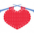 Knitted heart isolated — Imagen vectorial