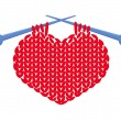 Knitted heart isolated - Stock Vector
