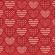 Stock Vector: Quilt hearts seamless pattern.