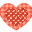 Two red patchwork hearts — Stock Vector