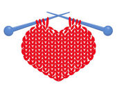 Knitted heart isolated — Stockvektor