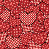 Patchwork hearts seamless beautiful pattern. — Stock Vector