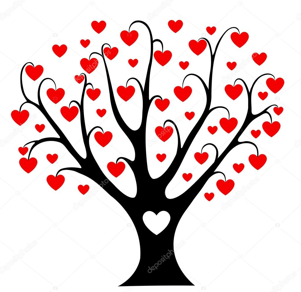 Hearts tree. Vector illustration. Isolated on white. — Stock Vector #19205461