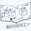 Scribble in a writing-book. Boy and girl. — Image vectorielle
