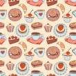 Coffee seamless cartoon pattern. — Stock Vector