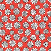 каракули цветы шаблон — Cтоковый вектор