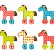Set of patchwork horses 1. — Stock Vector