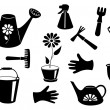 Silhouettes of garden tools. — Stock Vector