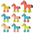 Set of patchwork horses 2. — Stock Vector
