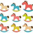 Set of patchwork horses 3. — Stock Vector