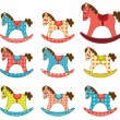 Set of patchwork horses 7. — Stock Vector