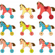 Set of patchwork horses 8. — Stock Vector