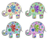 Set of elephants painted by flowers. — Stock Vector