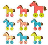 Set of patchwork horses 2. — Stock Vector
