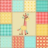 Giraffe patchwork pattern — Stock Vector