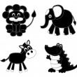 Silhouettes patchwork animals — Stock Vector