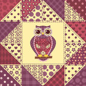 Seamless patchwork owl pattern 2 — Stock Vector
