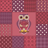 Seamless patchwork owl pattern 3 — Stock Vector