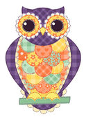 Colored isolated patchwork owl — Stock Vector