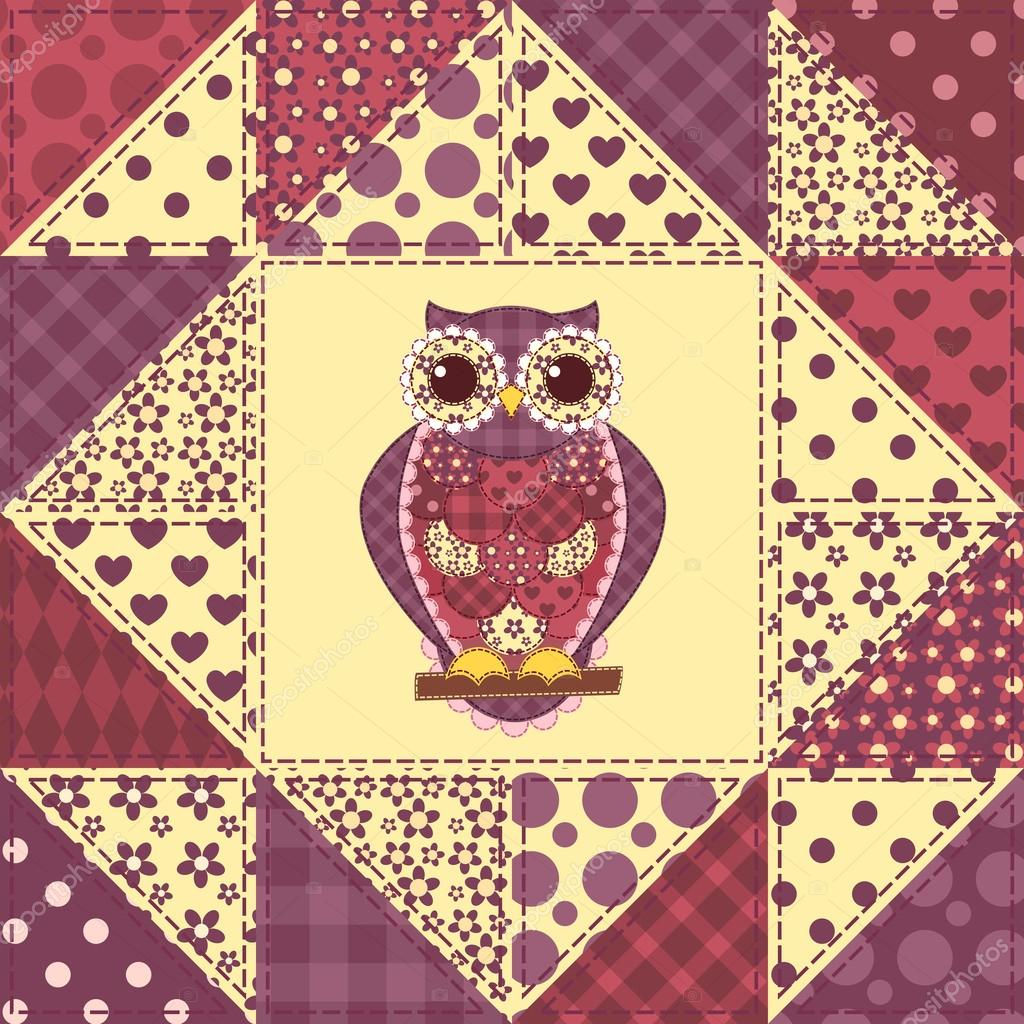 mod le de chouette sans couture patchwork 2 image vectorielle amalga 35433927. Black Bedroom Furniture Sets. Home Design Ideas