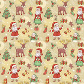 Holliday seamless pattern with santa. — Stock Vector