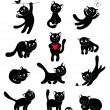 Set of silhouettes happy cats — Stock Vector #37896795