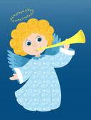 Vánoční anděl hraje — Stock vektor