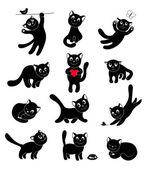 Set di gatti felice sagome — Vettoriale Stock