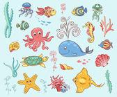 Set of underwater animals — Stock Vector