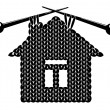The silhouette knitted house — Stock Vector