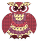 Isolated red patchwork owl — Vettoriale Stock