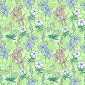 Green wild flowers seamless pattern — Stock Vector