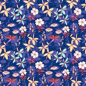 Blue wild flowers seamless pattern — Stock Vector