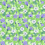 Beautiful wild bluebell flowers seamless pattern 1 — Stock Vector