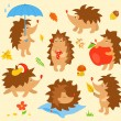 Set of simple cute hedgehogs — Stock Vector