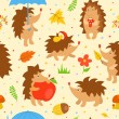 Seamless pattern with simple cute hedgehogs — Stock Vector