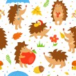 Seamless pattern with simple cute hedgehogs — Stock Vector #45501593