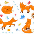 Set of cute foxes — Stock Vector