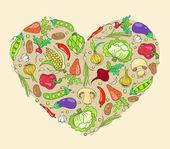 Cuore dalle verdure — Vettoriale Stock