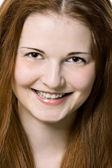Closeup mooie vrouw gezicht — Stockfoto