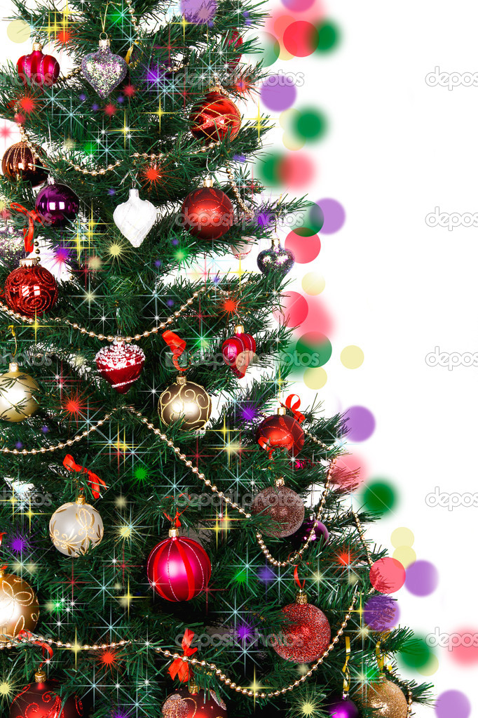 Decorated Christmas tree on white background  — Stock Photo #14182037
