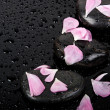 Spa stones with rose petals on black background.  — Stock Photo