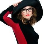 Portrait of a woman in elegant hat — Stock Photo
