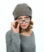 Young woman wearing her glasses  — Stock Photo